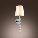 Sleek Sophisticated Wall Sconce Features Black Paper Shade and String of Crystal Balls
