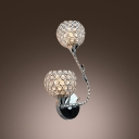 Elegant Flower Design Add vitality to Delightful Two-light Crystal Wall Sconce