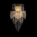Magnificently Stunning Wall Sconce Features Clear Crystal Draping Beads and Chrome finish