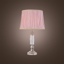 Elegant Pink Pleated Fabric Shade Table Lamp Makes Great Contemporary Piece for Any Living Room