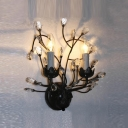 Delicate Stylish Wall Sconce Features Hand-fashioned Crystal Flowers