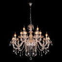 Crystal Drops Graceful Clear Glass Arms and Crystal Draping All Decorate Gorgeous Magnificent Chandelier