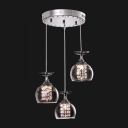 Contemporary Encircled Three Lights Pendant Adorned with Clear Crystal