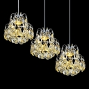Dazzling Crystal Falls and Graceful Metal Frame Composed Spectacular Multi-Light Ceiling Light