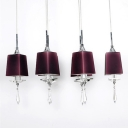 Kitchen Area Pendant Adorned with Dark Purple Shades and Pair with Beautiful Faceted Crystal Drops