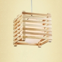 Round Wood Canopy Cube Wood Caged Designer Large Pendant Lighting