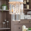 Clear Crystal Prisms Tired and White Canopy Flush Mount Lighting in Brilliant Design
