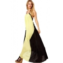 Lemon&Black Block Halter Backless Floor Length Dress