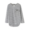 Black&White Stripe Print High-Low Beaded T-Shirt