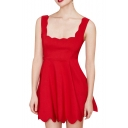 Red Square Neck Curve Trim Tank A-line Dress