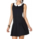 Cute White Petal Collar Ruched Detail Black Babydoll Dress