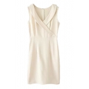 Plain V-Neck Sleeveless Fitted Skinny Dress