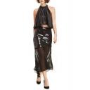 Sequins Sheer Net Insert Chiffon Midi Skirt