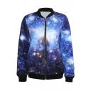 Blue Galaxy Print Baseball Jacket