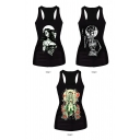 Sexy Lady&Little Girl Witch&Smoking Witch Print Black Tanks