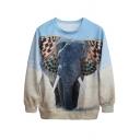 3D Elephant&Field Print Sweatshirt