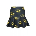 Yellow Smiling Mouth Print Black A-line Skirt
