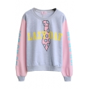 Color Block Letter Print Round Neck Sweatshirt with Long Sleeve