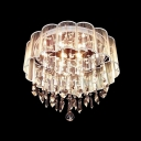 Glamorous Flush Mount Ceiling Light Adorned with Beautiful Crystal Rainfall and Delicate Hand-forged Lampworking Shade