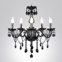Mysterious Jet Black Crystal Accented Candelabra Chandelier for Living Room