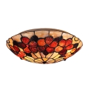 Beautiful Red Blossom Accented Flush Mount Ceiling Light in Tiffany Style