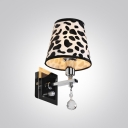 Contemporary Attractive Wall Sconce Features Clear Crystal Drops and Appealing Black Pattern Fabric Shade