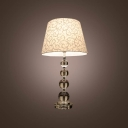 Beautiful Fabric Shade with Lead Crystal Table Lamp Features Four Stacked Crystal Globes Create the Base