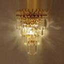 Luxurious Gold Finish Frame Pairs with Shining Clear Square Crystals Composed Elaborate Two-light Wall Sconce
