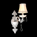 Splendid European Style Wall Sconce in All White Adorned with Faceted Crystal Drops and Delicate Canopy
