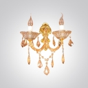 Gorgeous Stylish European Style Gold Finish Wall Sconce Adorned with Unique Crystal Droplets