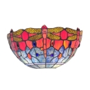 Fancy Single Light  Dragonfly Theme Glass Shade Bedroom Tiffany Wallwasher