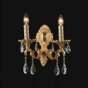 Glamourous Luxury Gold Two Light Crystal  Wall Sconce