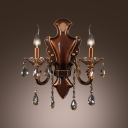Crystal Plate and Drops Add Charm to Delightful Two Light Wall Sconce
