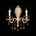 Dazzling Charming Rustic Sliver Wall Light Fixture with Lead Crystal