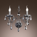 Stunning Glistening Two Light Crystal Wall Sconce Pairs with Beautiful Curving Arms