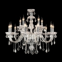Swirled All-Crystal Arms Bright Clear Crystal Cascades 12-Light Chandelier