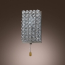 Encased Crystals Gleam Against Polished Chrome Backplate Makes Delightful Wall Sconce