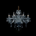 Large and Beautiful Two-Tiered 12-Light Clear Crystal Chandelier for Dining Room