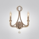 Two Light Wall Sconce Pairs Crystal and Clear Glass Beading With Chrome