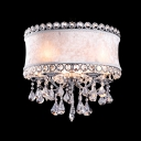 Modern and Graceful White Flannel Drum Shade Large Pendant Light Accented by Hand Cut Crystals