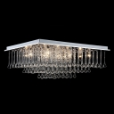 Square Crystal Rainfall Chrome Finished Contemporary Style 15.7
