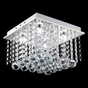 Modern Square Cube Crystal Rain Flush Mount Shine with Crystal Beads and Balls
