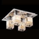 Square Stainless Steel Canopy Hanging Crystal Beaded Shade Splendid Flush Mount