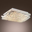 Tile Shaped Bold and Elegant Flush Mount Light Accented by Clear Crystal Spheres