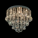 Cluster of Shinning Small Clear Crystal Globes Rounded Chrome Finished Contemporary Flush Mount