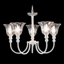 Clear Crystal Floral Design Shade White Metal Arms 5-Light Elegant and Splendid Chandelier
