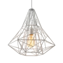 Large Cage LED Pendant Light with Reel Iorn in White Finish