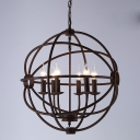 Rust Finished Nobelty Globe Cage Industrial Suspension LED Pendant