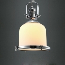 Opal White Glassware Chrome Plated Frame 1 Light LED Pendant Lighting Fixture Chrome