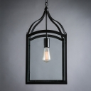 One-light Glass Shaded Lantern Industrial Suspension LED Pendant